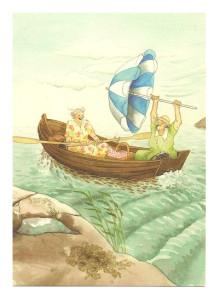 В лодке с зонтиком.